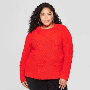 Women's Plus size cable knit Pullover sweater X